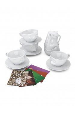 Набор из 4 чашек и чайника